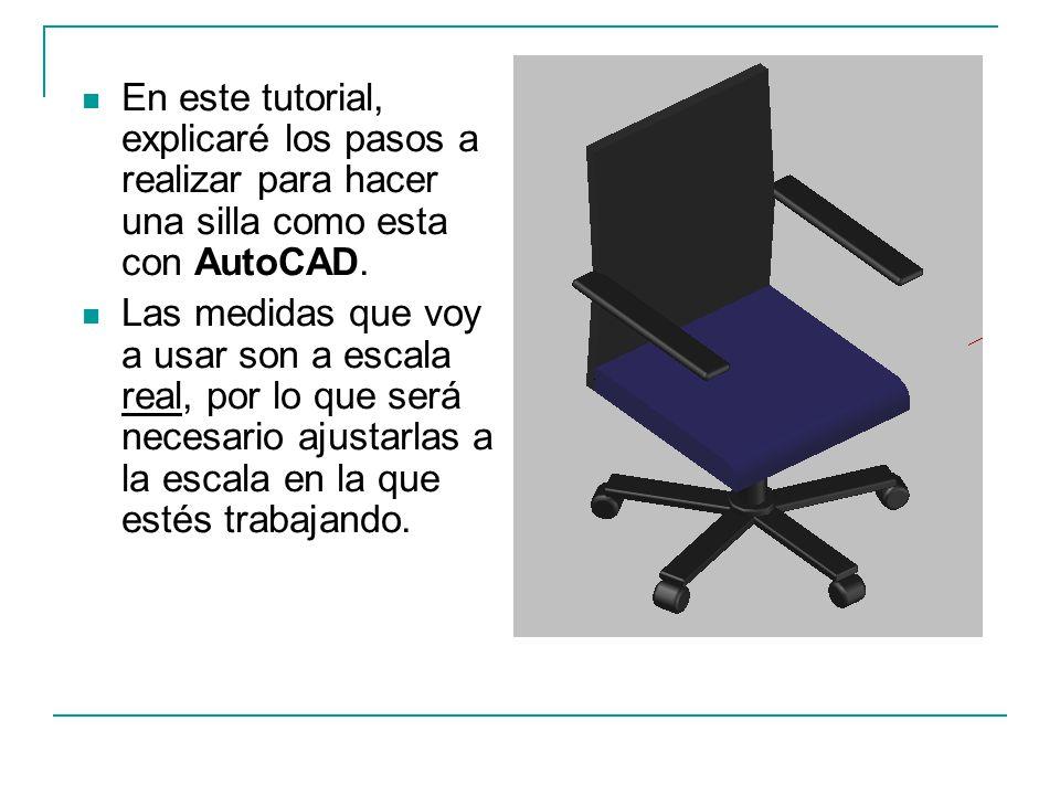 En este tutorial, explicaré los pasos a realizar para hacer una silla como esta con AutoCAD. Las medidas que voy a usar son a escala real, por lo que