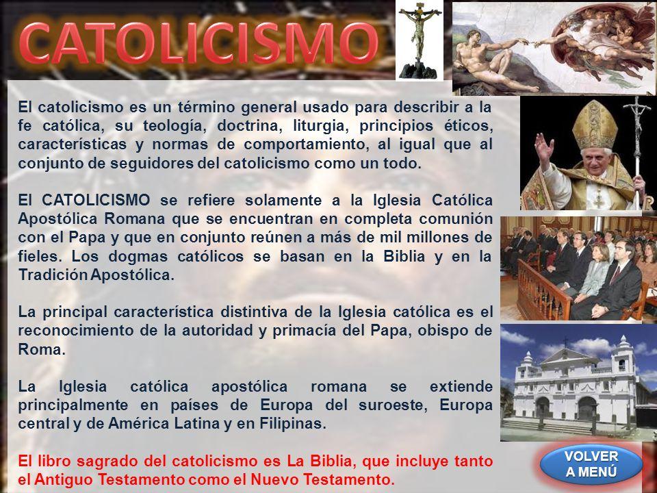 El catolicismo es un término general usado para describir a la fe católica, su teología, doctrina, liturgia, principios éticos, características y norm