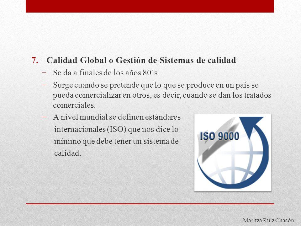 Maritza Ruiz Chacón 7.Calidad Global o Gestión de Sistemas de calidad Se da a finales de los años 80´s. Surge cuando se pretende que lo que se produce