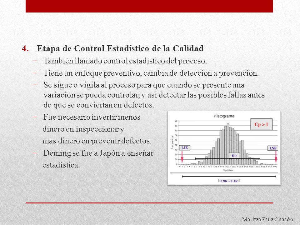Maritza Ruiz Chacón 4.Etapa de Control Estadístico de la Calidad También llamado control estadístico del proceso. Tiene un enfoque preventivo, cambia