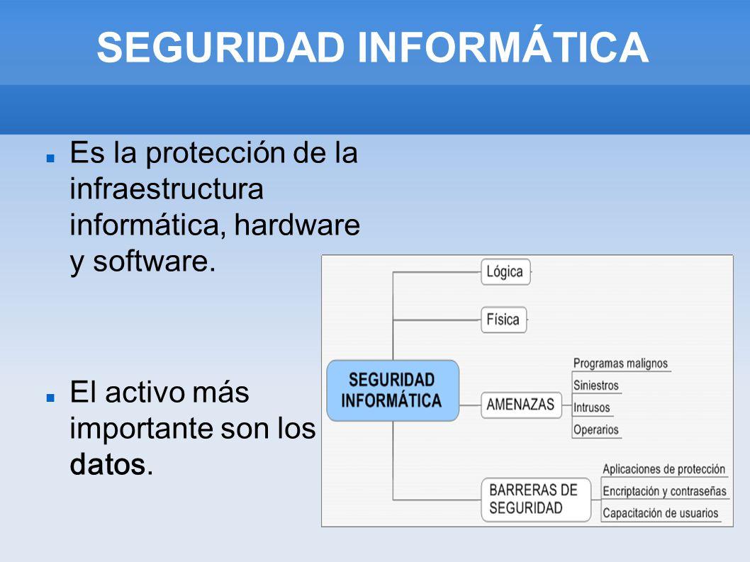 SEGURIDAD INFORMÁTICA Es la protección de la infraestructura informática, hardware y software. El activo más importante son los datos.