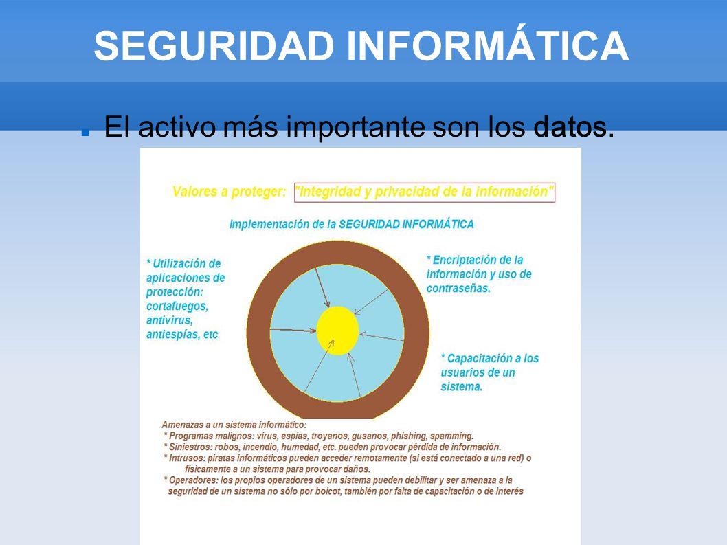 SEGURIDAD INFORMÁTICA Objetivos de la seguridad informática: La seguridad informática está concebida para proteger: - PROTECCIÓN DE LOS DATOS (la información) - PROTECCIÓN DE LOS EQUIPOS - PROTECCIÓN DE LOS USUARIOS