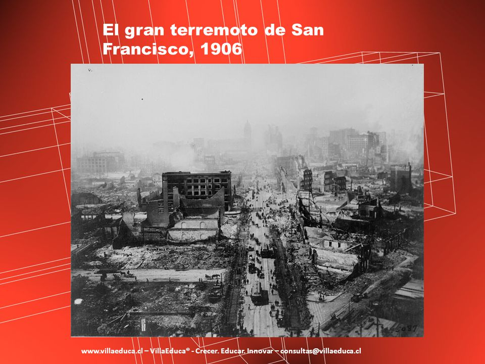 El gran terremoto de San Francisco, 1906 www.villaeduca.cl – VillaEduca® - Crecer. Educar. Innovar – consultas@villaeduca.cl