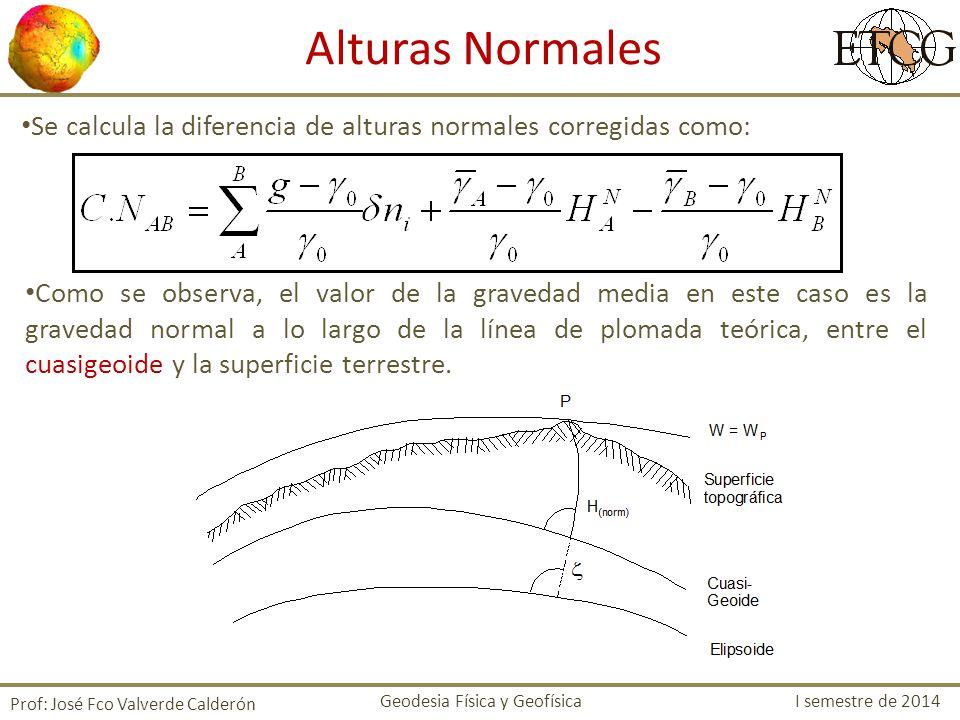 Se calcula la diferencia de alturas normales corregidas como: Prof: José Fco Valverde Calderón Como se observa, el valor de la gravedad media en este caso es la gravedad normal a lo largo de la línea de plomada teórica, entre el cuasigeoide y la superficie terrestre.