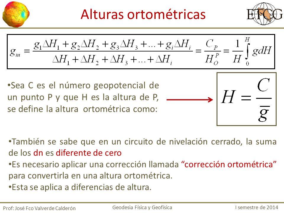 Prof: José Fco Valverde Calderón Sea C es el número geopotencial de un punto P y que H es la altura de P, se define la altura ortométrica como: Altura