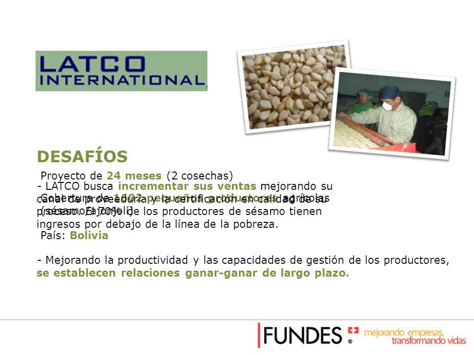 Proyecto de 24 meses (2 cosechas) Cobertura de 1602 pequeños productores agrícolas (sésamo/ajonjolí) País: Bolivia DESAFÍOS - LATCO busca incrementar
