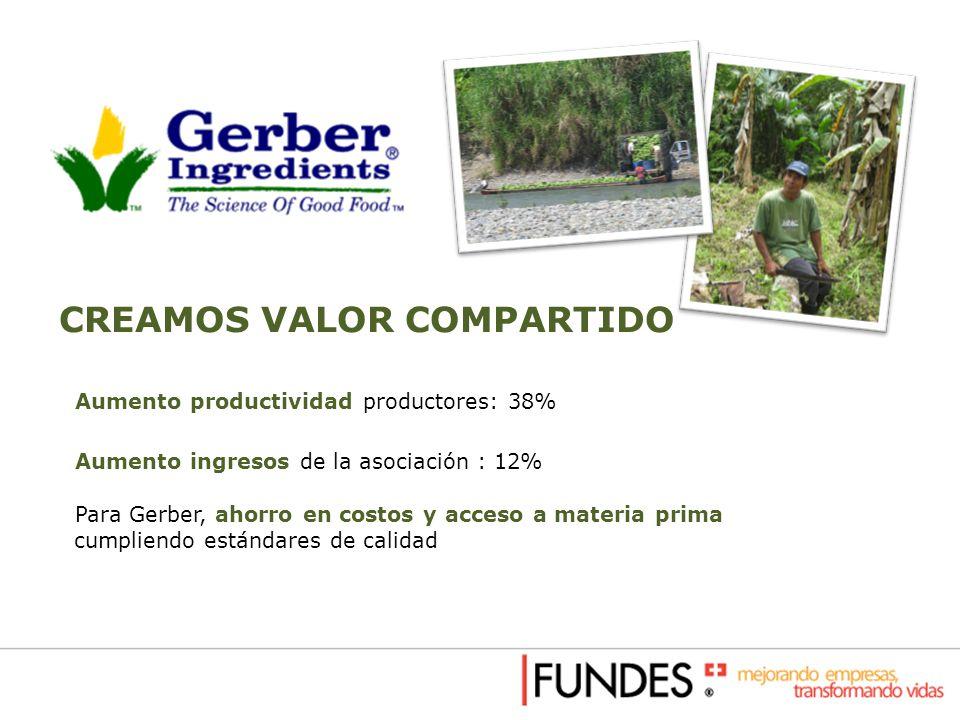 Aumento productividad productores: 38% Aumento ingresos de la asociación : 12% Para Gerber, ahorro en costos y acceso a materia prima cumpliendo están