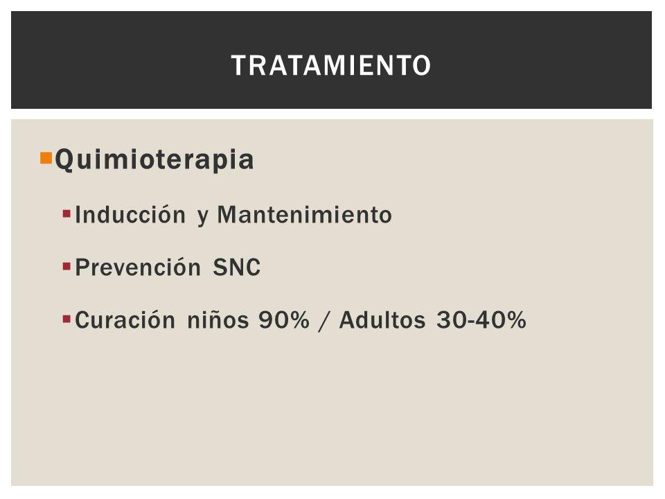TRATAMIENTO Quimioterapia Inducción y Mantenimiento Prevención SNC Curación niños 90% / Adultos 30-40%