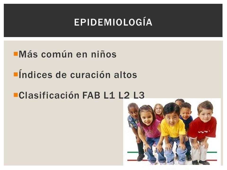 Más común en niños Índices de curación altos Clasificación FAB L1 L2 L3 EPIDEMIOLOGÍA