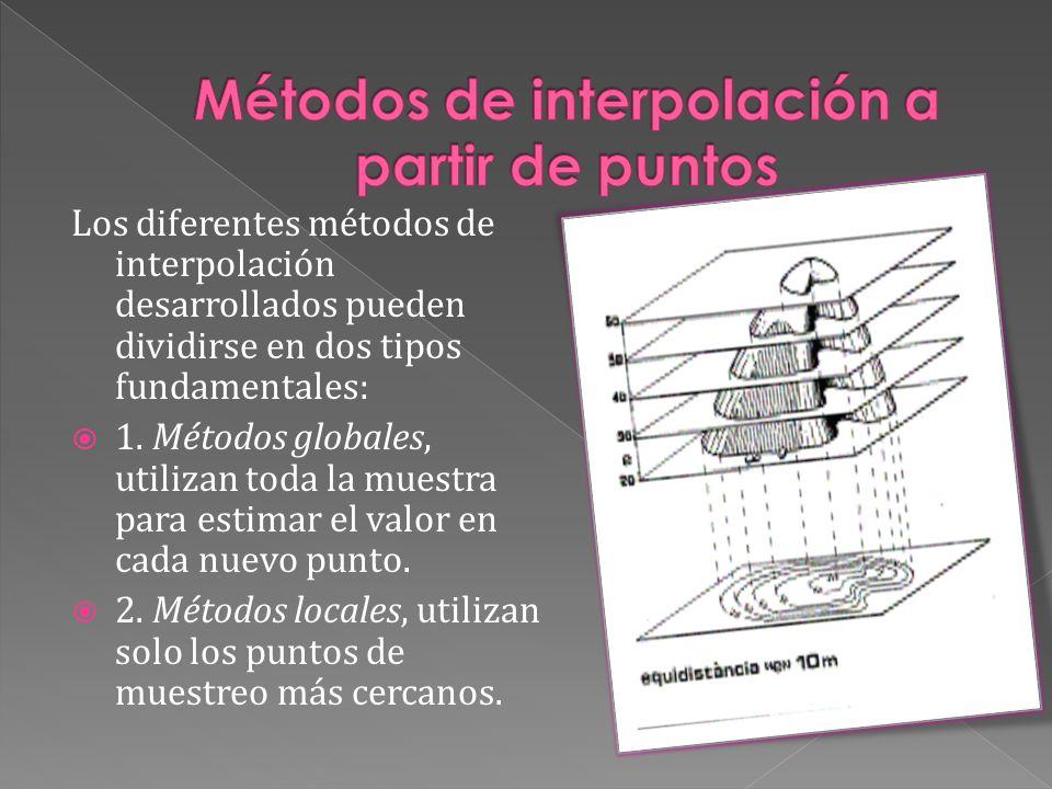 Los diferentes métodos de interpolación desarrollados pueden dividirse en dos tipos fundamentales: 1. Métodos globales, utilizan toda la muestra para