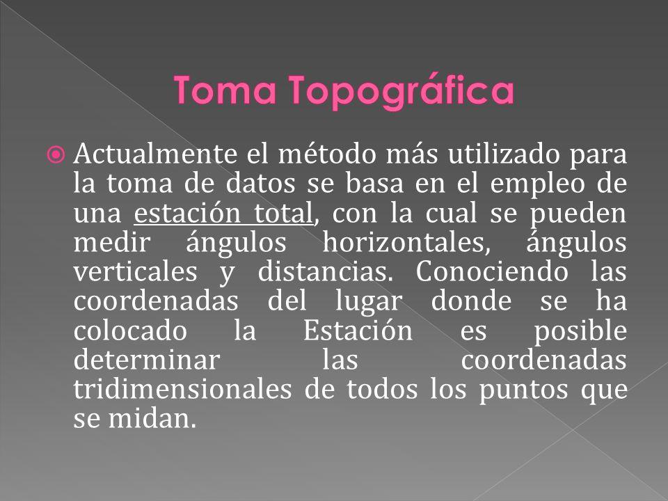 Actualmente el método más utilizado para la toma de datos se basa en el empleo de una estación total, con la cual se pueden medir ángulos horizontales