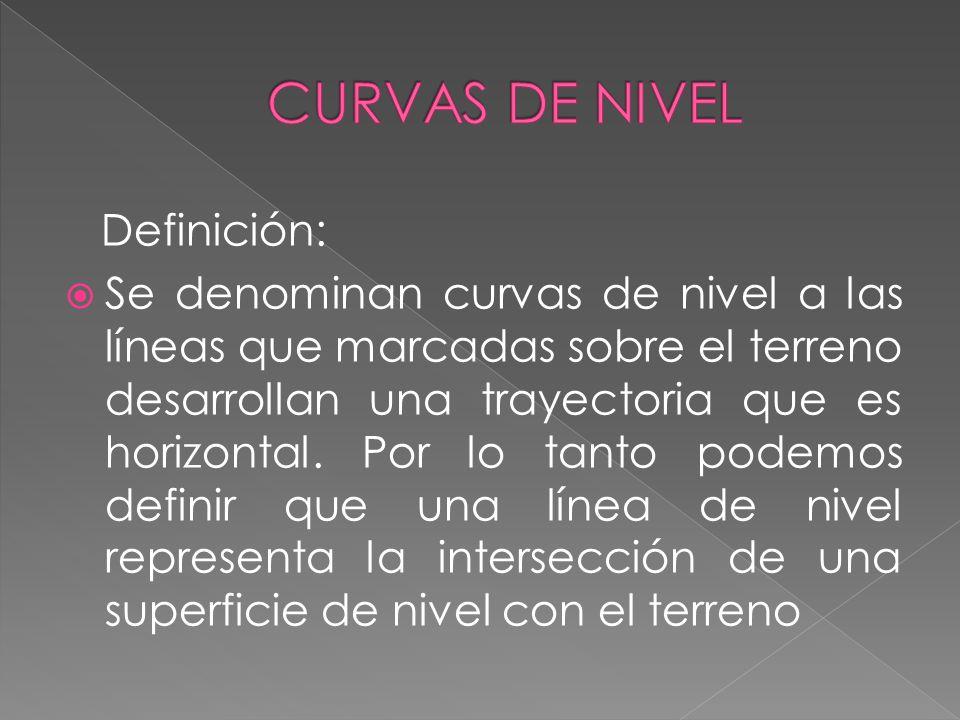Definición: Se denominan curvas de nivel a las líneas que marcadas sobre el terreno desarrollan una trayectoria que es horizontal. Por lo tanto podemo