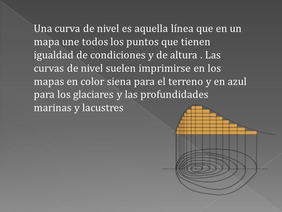 Una curva de nivel es aquella línea que en un mapa une todos los puntos que tienen igualdad de condiciones y de altura. Las curvas de nivel suelen imp