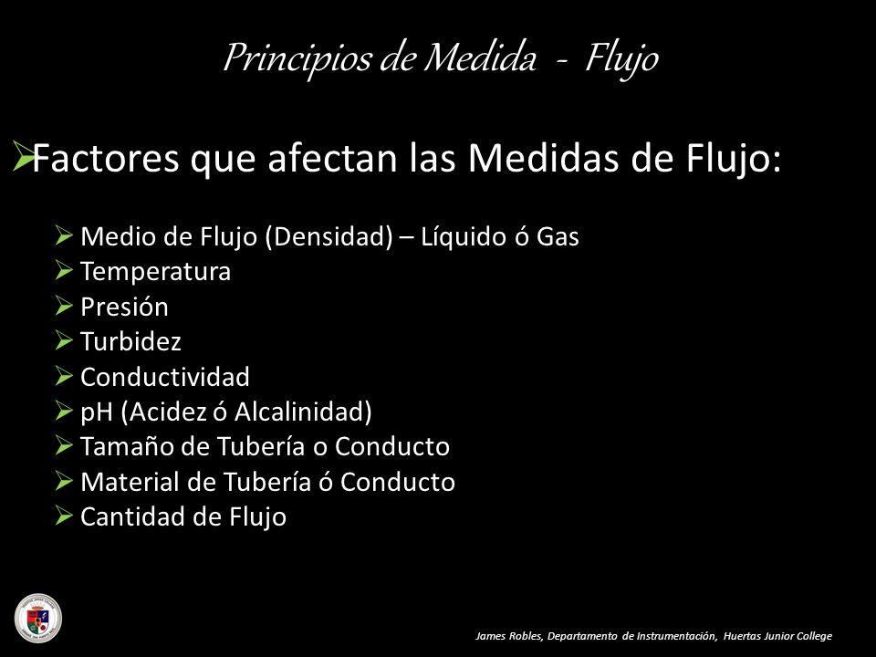 Principios de Medida - Flujo James Robles, Departamento de Instrumentación, Huertas Junior College Factores que afectan las Medidas de Flujo: Medio de