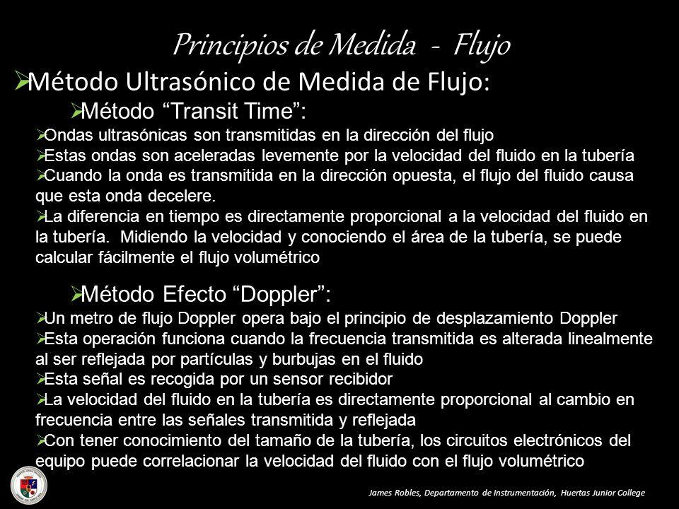 Principios de Medida - Flujo Método Ultrasónico de Medida de Flujo: James Robles, Departamento de Instrumentación, Huertas Junior College Método Trans