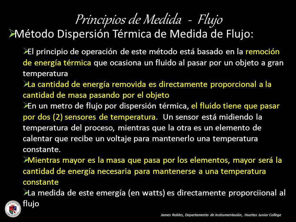 Principios de Medida - Flujo James Robles, Departamento de Instrumentación, Huertas Junior College Método Dispersión Térmica de Medida de Flujo: El pr
