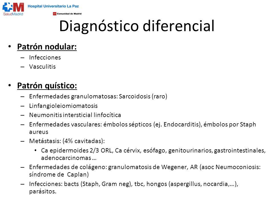 Diagnóstico diferencial Patrón nodular: – Infecciones – Vasculitis Patrón quístico: – Enfermedades granulomatosas: Sarcoidosis (raro) – Linfangioleiom