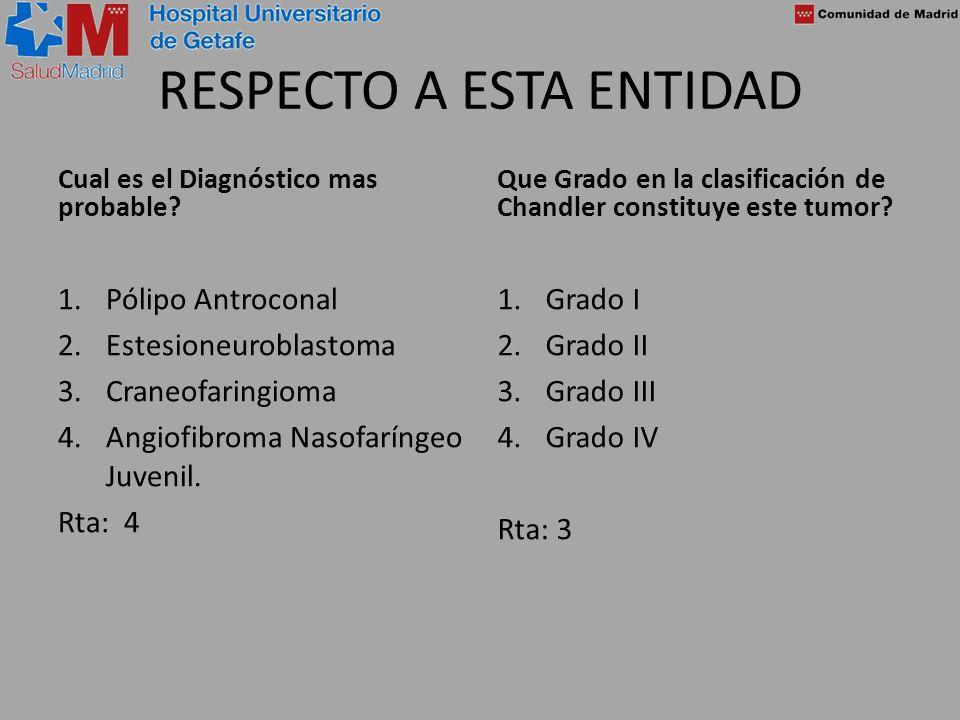 RESPECTO A ESTA ENTIDAD Cual es el Diagnóstico mas probable? 1.Pólipo Antroconal 2.Estesioneuroblastoma 3.Craneofaringioma 4.Angiofibroma Nasofaríngeo