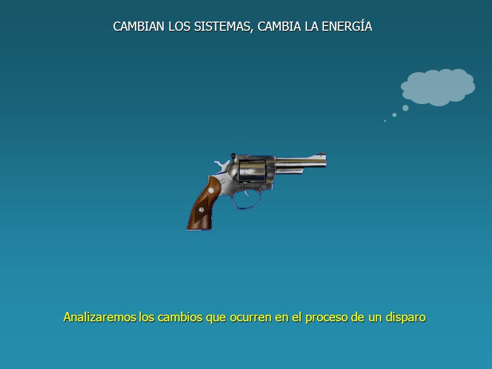 CAMBIAN LOS SISTEMAS, CAMBIA LA ENERGÍA Situación inicial Situación final DESCRIPCIÓN DE LOS SISTEMAS La pólvora está intacta La pólvora se ha quemado La bala está en reposo La bala está en movimiento DESCRIPCIÓN ENERGÉTICA