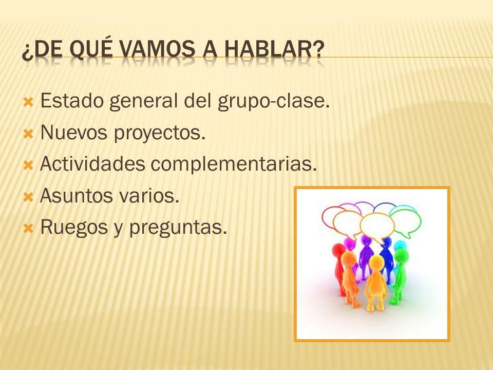 Estado general del grupo-clase. Nuevos proyectos. Actividades complementarias. Asuntos varios. Ruegos y preguntas.
