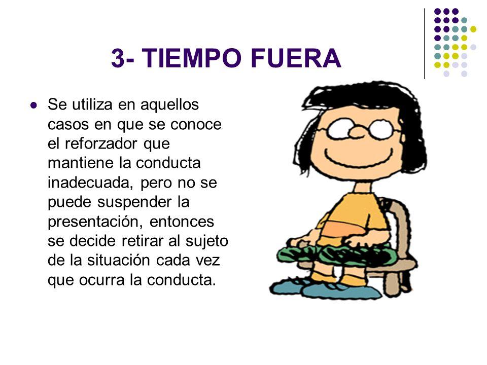 3- TIEMPO FUERA Se utiliza en aquellos casos en que se conoce el reforzador que mantiene la conducta inadecuada, pero no se puede suspender la present