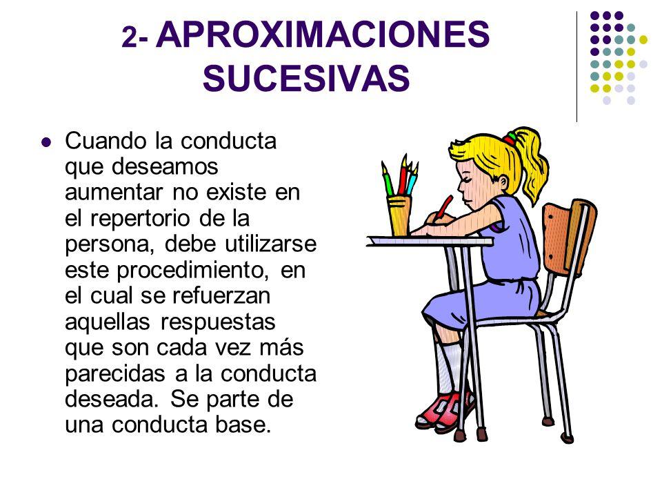 2- APROXIMACIONES SUCESIVAS Cuando la conducta que deseamos aumentar no existe en el repertorio de la persona, debe utilizarse este procedimiento, en