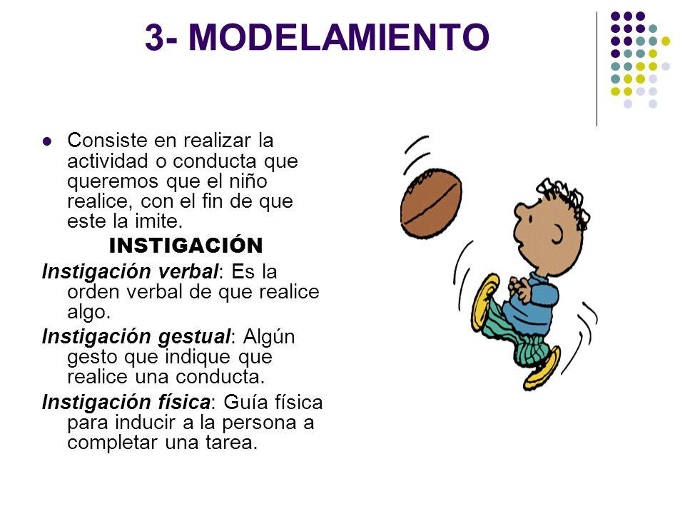 3- MODELAMIENTO Consiste en realizar la actividad o conducta que queremos que el niño realice, con el fin de que este la imite. INSTIGACIÓN Instigació