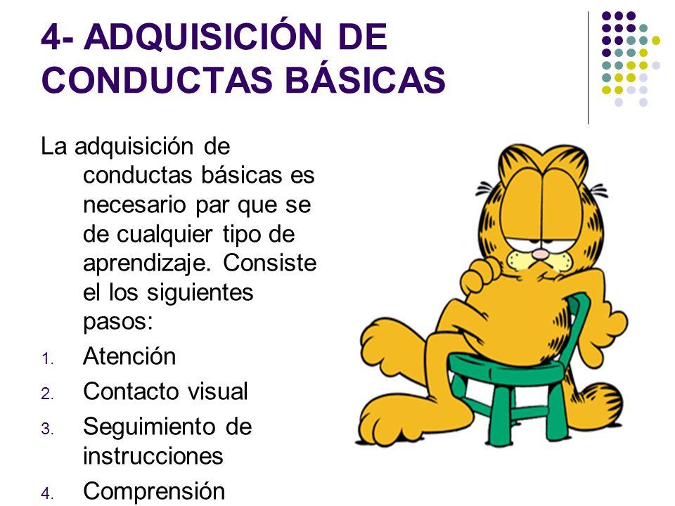 4- ADQUISICIÓN DE CONDUCTAS BÁSICAS La adquisición de conductas básicas es necesario par que se de cualquier tipo de aprendizaje. Consiste el los sigu