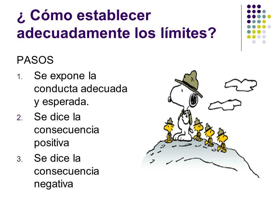 ¿ Cómo establecer adecuadamente los límites? PASOS 1. Se expone la conducta adecuada y esperada. 2. Se dice la consecuencia positiva 3. Se dice la con