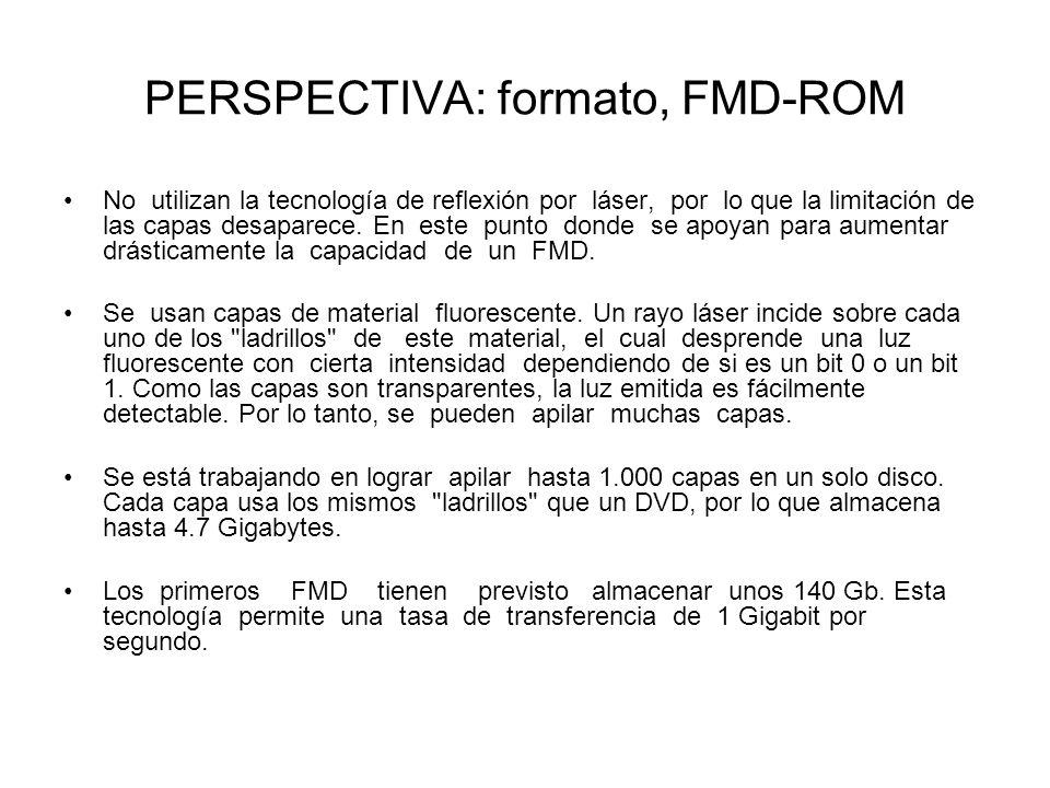 PERSPECTIVA: formato, FMD-ROM No utilizan la tecnología de reflexión por láser, por lo que la limitación de las capas desaparece. En este punto donde