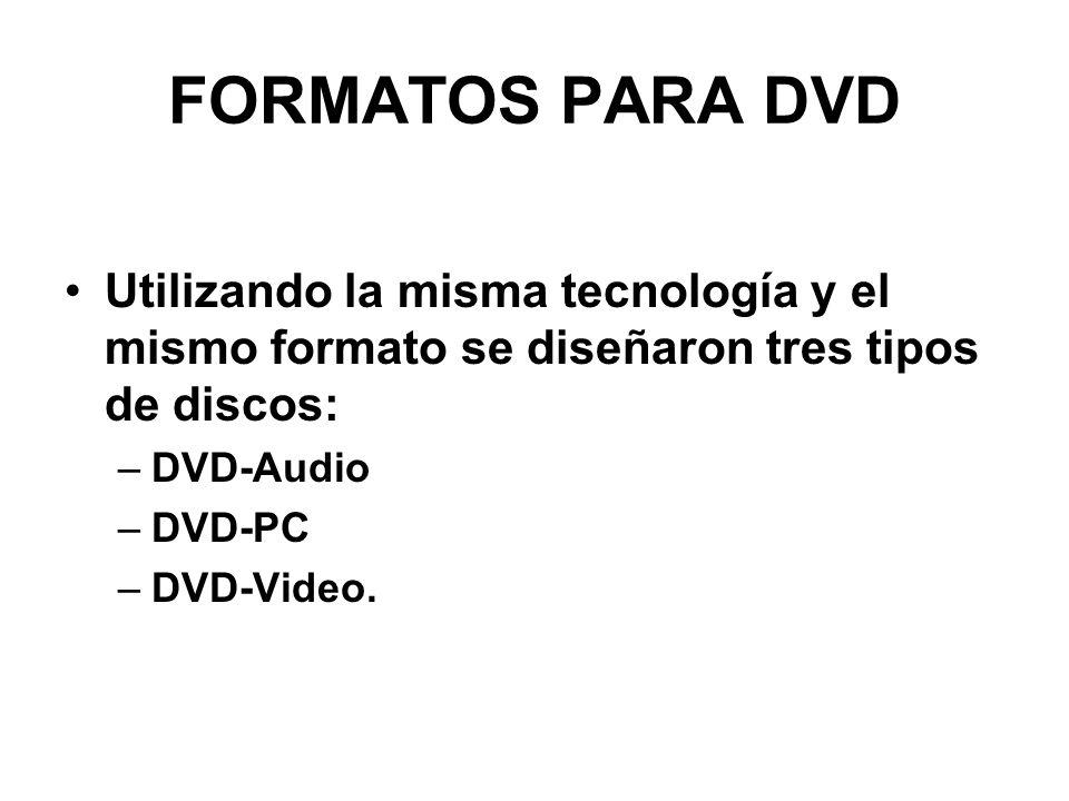 FORMATOS PARA DVD Utilizando la misma tecnología y el mismo formato se diseñaron tres tipos de discos: –DVD-Audio –DVD-PC –DVD-Video.