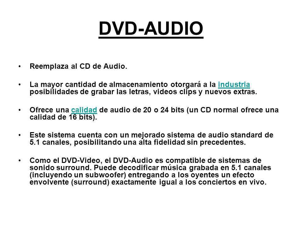 DVD-AUDIO Reemplaza al CD de Audio. La mayor cantidad de almacenamiento otorgará a la industria posibilidades de grabar las letras, videos clips y nue
