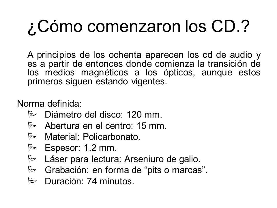 ¿Cómo comenzaron los CD.? A principios de los ochenta aparecen los cd de audio y es a partir de entonces donde comienza la transición de los medios ma