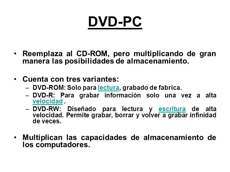 DVD-PC Reemplaza al CD-ROM, pero multiplicando de gran manera las posibilidades de almacenamiento. Cuenta con tres variantes: –DVD-ROM: Solo para lect