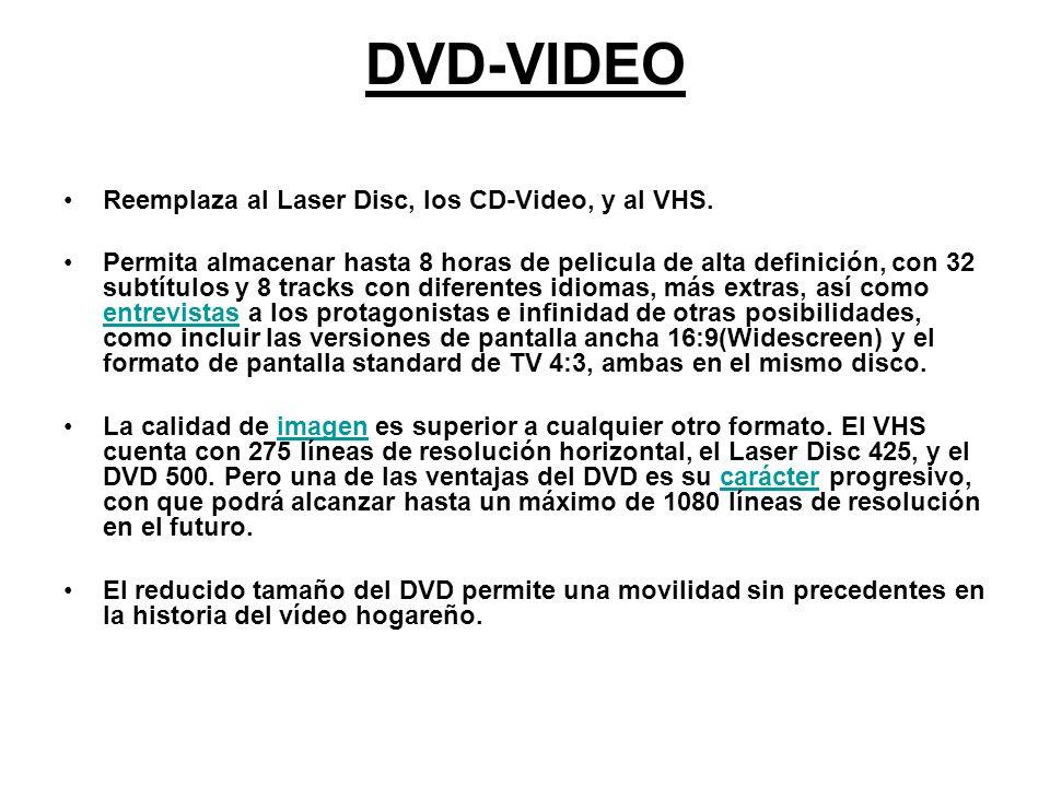DVD-VIDEO Reemplaza al Laser Disc, los CD-Video, y al VHS. Permita almacenar hasta 8 horas de pelicula de alta definición, con 32 subtítulos y 8 track