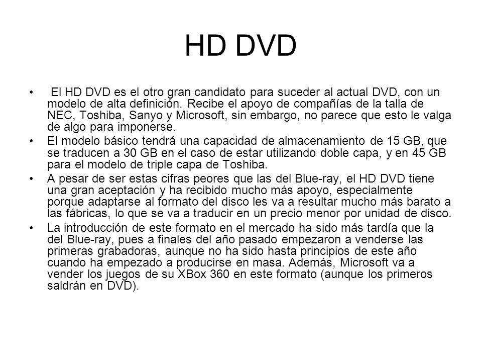HD DVD El HD DVD es el otro gran candidato para suceder al actual DVD, con un modelo de alta definición. Recibe el apoyo de compañías de la talla de N