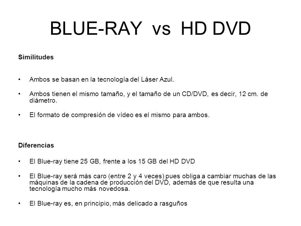 BLUE-RAY vs HD DVD Similitudes Ambos se basan en la tecnología del Láser Azul. Ambos tienen el mismo tamaño, y el tamaño de un CD/DVD, es decir, 12 cm