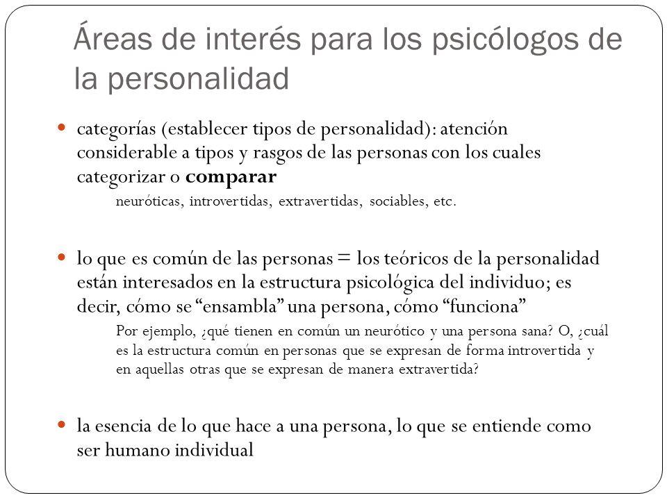 Áreas de interés para los psicólogos de la personalidad categorías (establecer tipos de personalidad): atención considerable a tipos y rasgos de las p