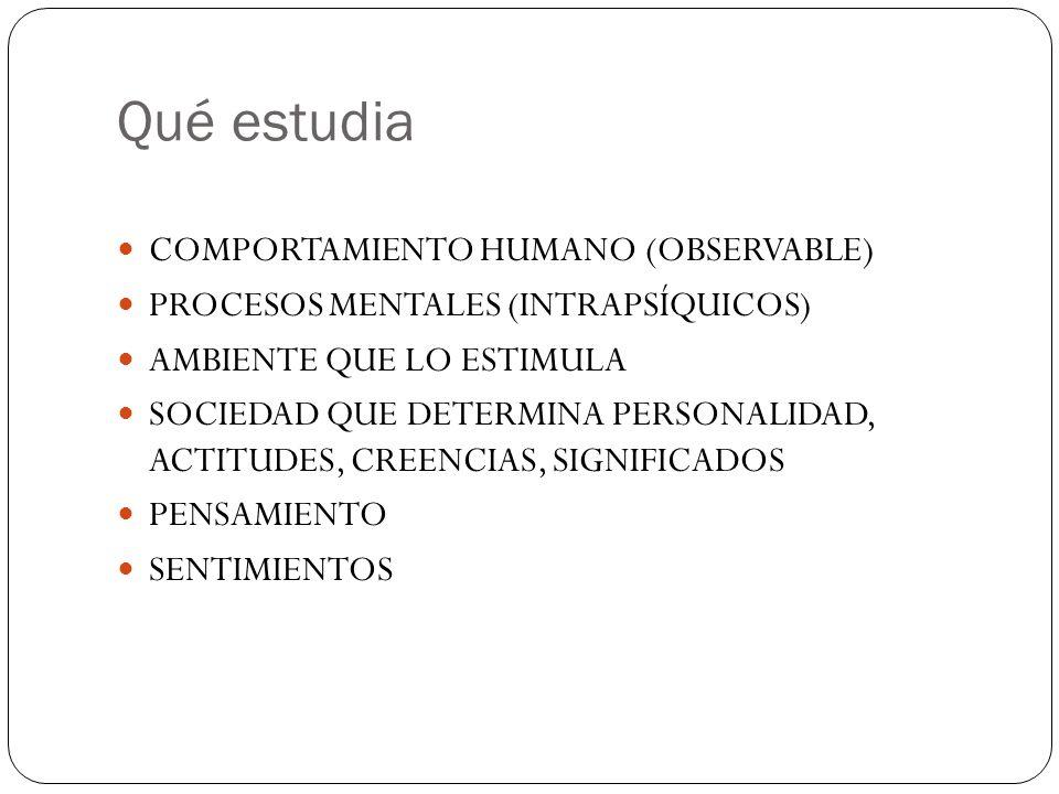 Qué estudia COMPORTAMIENTO HUMANO (OBSERVABLE) PROCESOS MENTALES (INTRAPSÍQUICOS) AMBIENTE QUE LO ESTIMULA SOCIEDAD QUE DETERMINA PERSONALIDAD, ACTITU