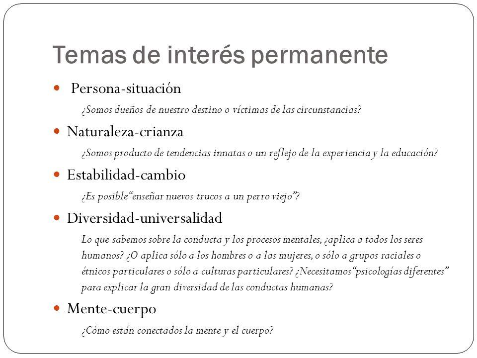Temas de interés permanente Persona-situación ¿Somos dueños de nuestro destino o víctimas de las circunstancias? Naturaleza-crianza ¿Somos producto de