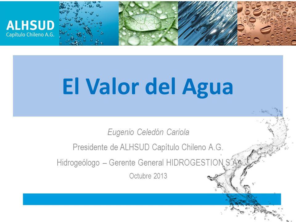 El Valor del Agua Eugenio Celedón Cariola Presidente de ALHSUD Capítulo Chileno A.G. Hidrogeólogo – Gerente General HIDROGESTION S.A. Octubre 2013