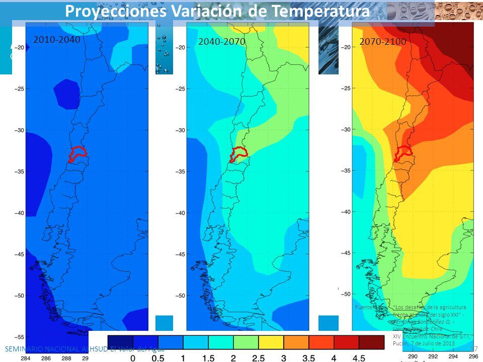 2070-21002040-2070 2010-2040 Proyecciones Variación de Temperatura Fuente:Los desafíos de la agricultura frente al clima del siglo XXI - Fernando Sant
