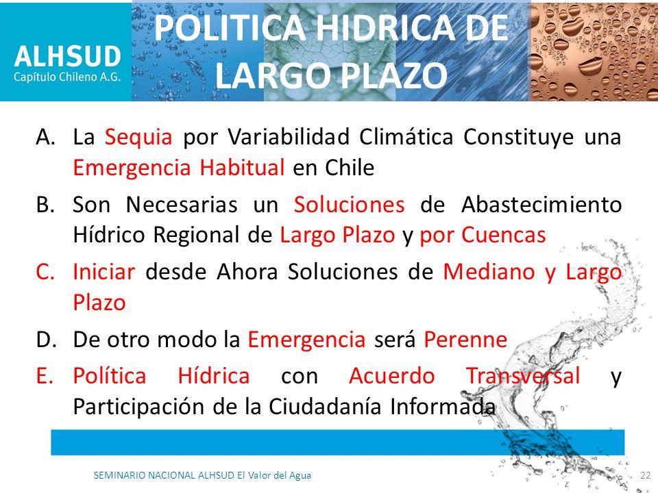A.La Sequia por Variabilidad Climática Constituye una Emergencia Habitual en Chile B.Son Necesarias un Soluciones de Abastecimiento Hídrico Regional d