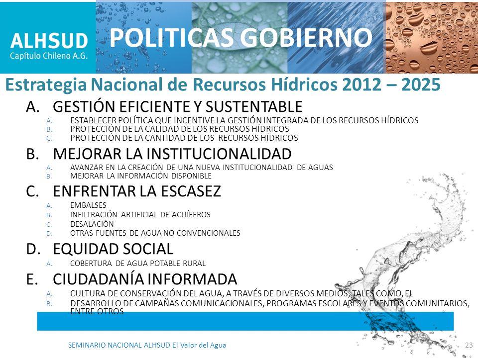 Estrategia Nacional de Recursos Hídricos 2012 – 2025 A.GESTIÓN EFICIENTE Y SUSTENTABLE A. ESTABLECER POLÍTICA QUE INCENTIVE LA GESTIÓN INTEGRADA DE LO