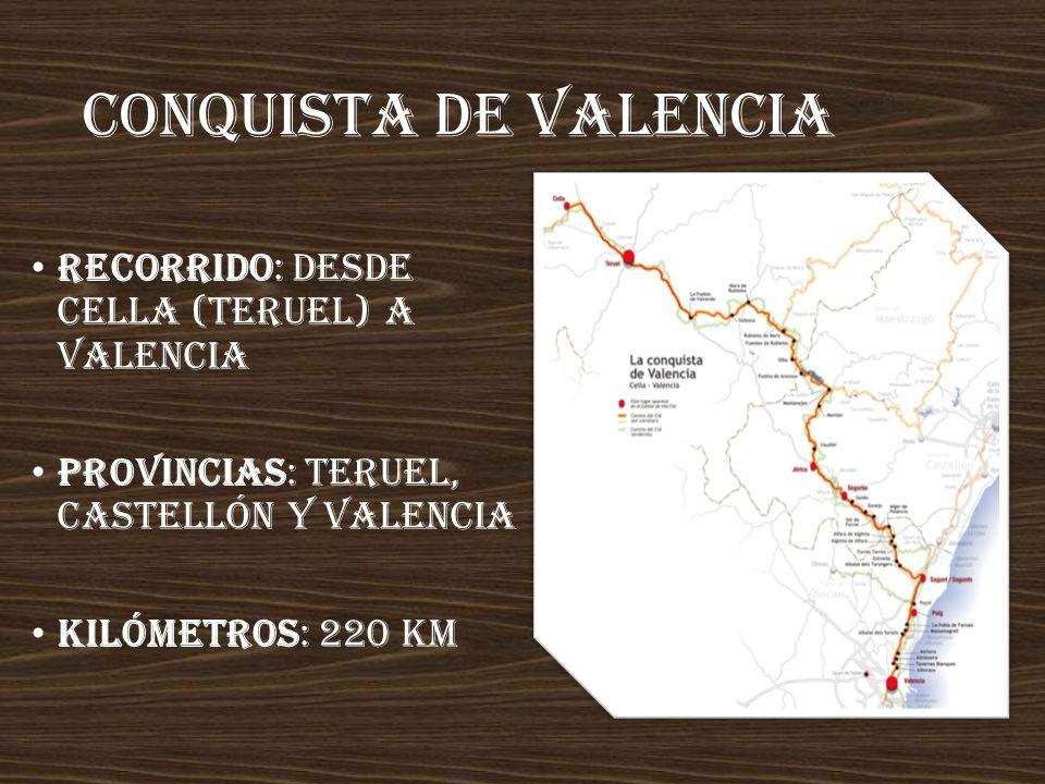 Conquista de valencia Recorrido: desde Cella (Teruel) a Valencia Provincias: Teruel, Castellón y Valencia Kilómetros: 220 km