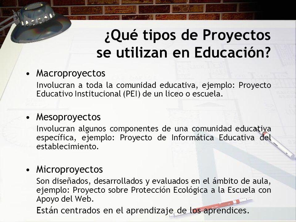 ¿Qué tipos de Proyectos se utilizan en Educación? Macroproyectos Involucran a toda la comunidad educativa, ejemplo: Proyecto Educativo Institucional (