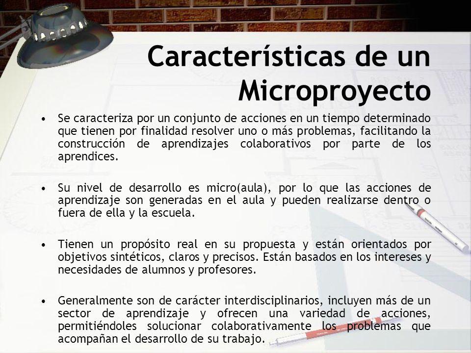 Características de un Microproyecto Se caracteriza por un conjunto de acciones en un tiempo determinado que tienen por finalidad resolver uno o más pr