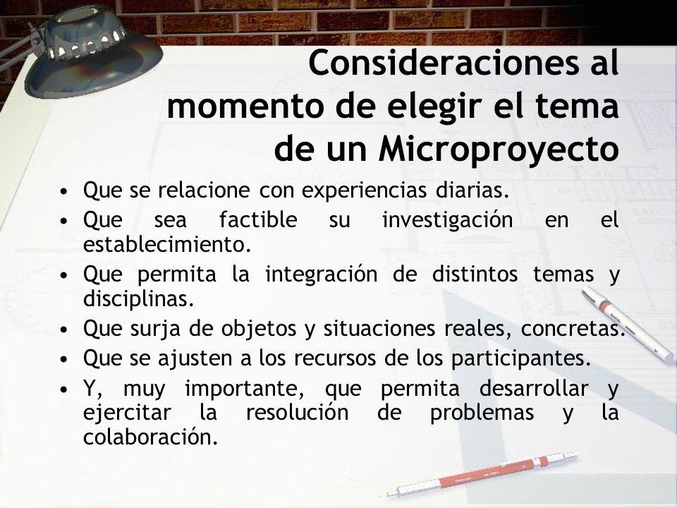 Consideraciones al momento de elegir el tema de un Microproyecto Que se relacione con experiencias diarias. Que sea factible su investigación en el es