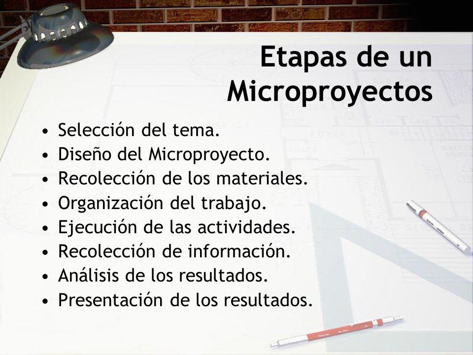 Etapas de un Microproyectos Selección del tema. Diseño del Microproyecto. Recolección de los materiales. Organización del trabajo. Ejecución de las ac
