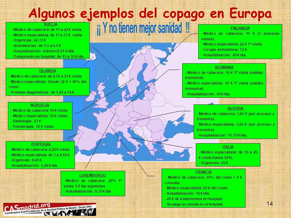 13 Supresión Impuesto de Patrimonio: dejados de ingresar entre 1.800 y 2.100 millones de (Extremadura gasta 1.200 millones/año en sanidad) Media UE-15